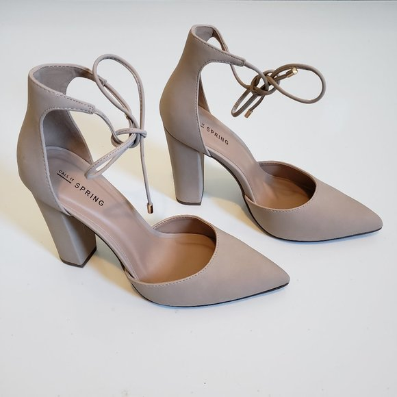 Call It Spring Nude Pointy Toe Chunky Heel Tie Up